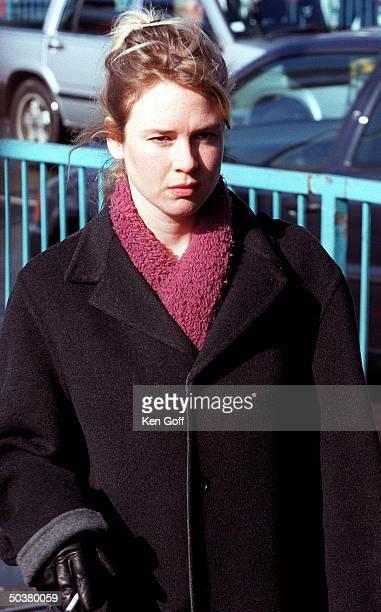 Actress Renee Zellweger pouting on the set of the film Bridget Jones's Diary at Tower Bridge.