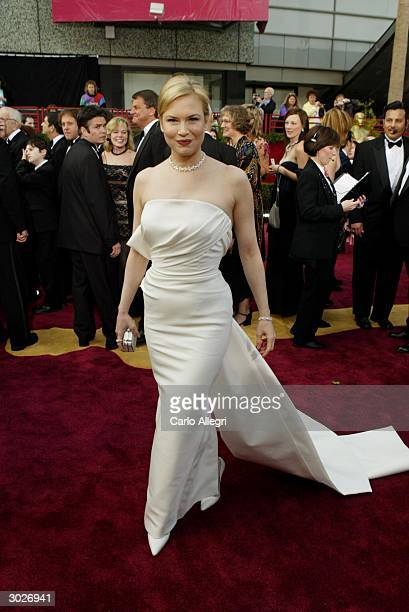 """Actress Renee Zellweger, winner for Best Actress in a Supporting Role for """"Cold Mountain"""", attends the 76th Annual Academy Awards at the Kodak..."""