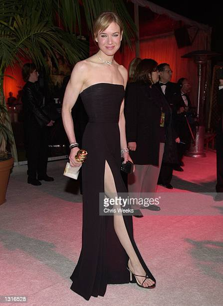 Actress Renee Zellweger winner of the award for Best Actress Comedy Film arrives at an afterparty hosted by USA Films for the 58th Annual Golden...