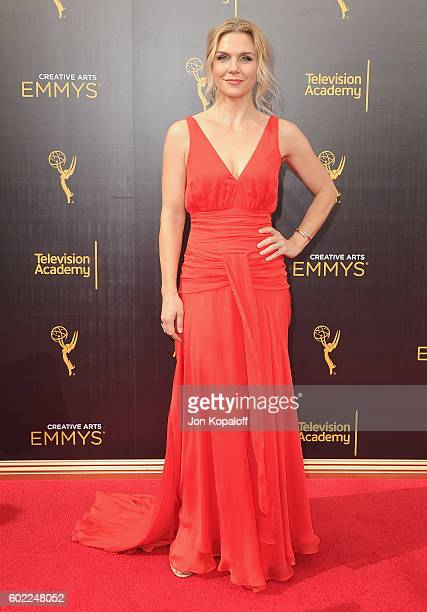 Actress Rhea Seehorn arrives at the 2016 Creative Arts Emmy Awards at Microsoft Theater on September 10 2016 in Los Angeles California