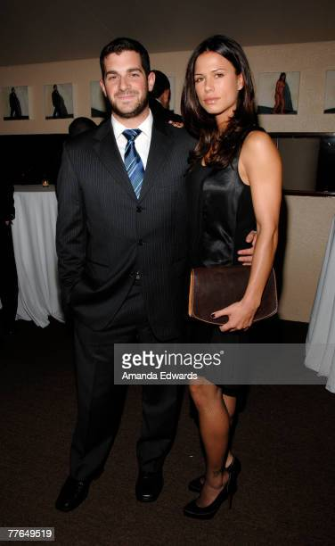 Actress Rhona Mitra and her agent David Bugliari attend the Lakeshore Entertainment AFM cocktail party and dinner at Michael's on November 1 2007 in...