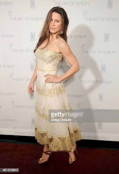 Actress Rhona Mitra arrives at The Art Of Elysium's 8th Annual Heaven Gala at Hangar 8 on January 10 2015 in Santa Monica California