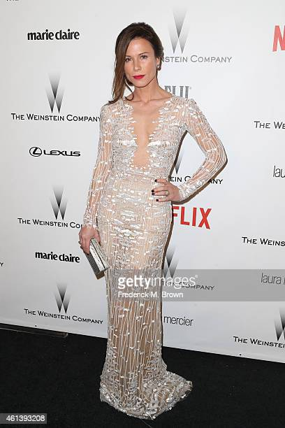 Actress Rhona Mitra attends the 2015 Weinstein Company and Netflix Golden Globes After Party at Robinsons May Lot on January 11 2015 in Beverly Hills...