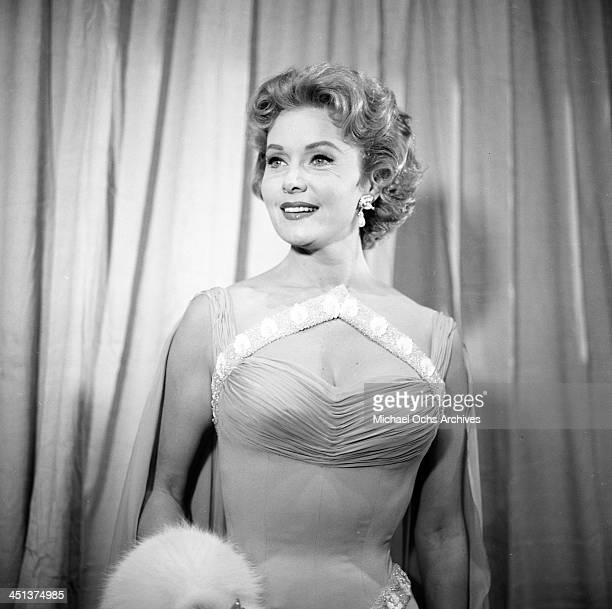 Actress Rhonda Fleming pose at a party in Los Angeles California