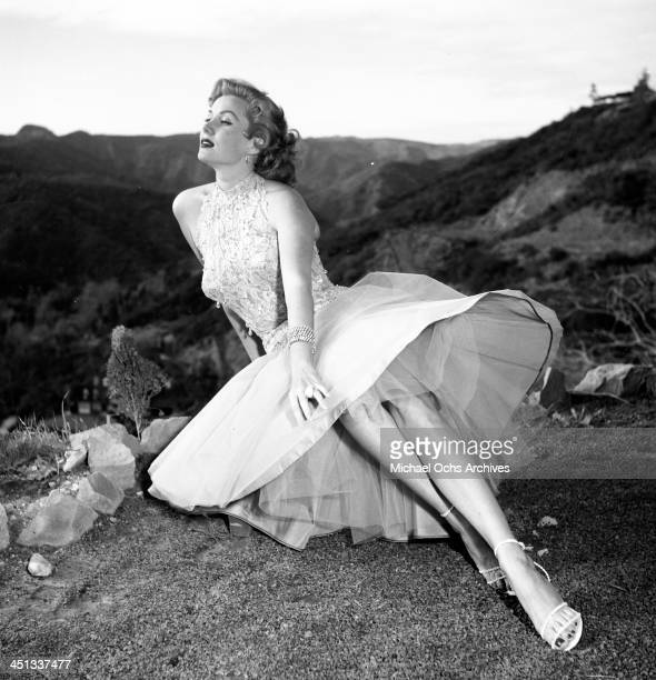Actress Rhonda Fleming pose at home in Los Angeles California