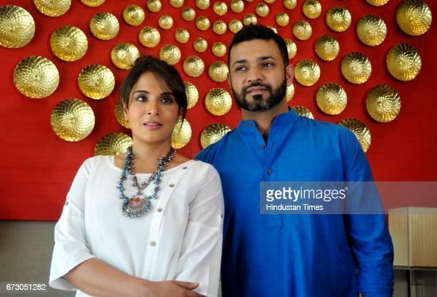 Actress Richa Chadda along with short film director Rupinder Inderjit Singh during the screening of short film Khoon Aali Chithi at Hyatt Hotel on...