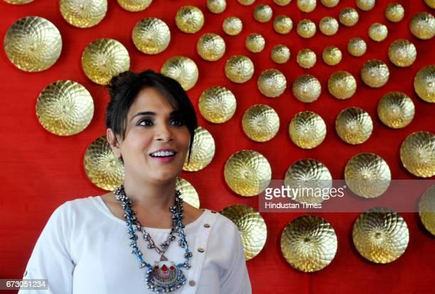 Actress Richa Chadda during the screening of short film Khoon Aali Chithi at Hyatt Hotel on April 25 2017 in Chandigarh India