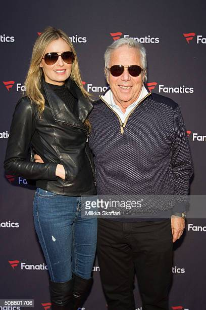 Actress Ricki Noel Lander and CEO of The Kraft Group Robert Kraft arrive at Fanatic's Big Game Weekend Event on February 6 2016 in San Francisco...
