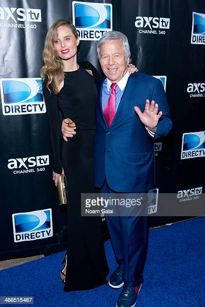 Actress Ricki Noel Lander and New England Patriots Owner Robert Kraft attend the DirecTV Super Saturday Night at Pier 40 on February 1 2014 in New...