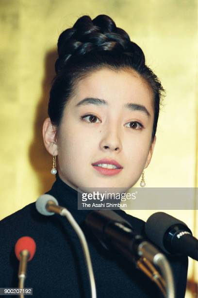 Actress Rie Miyazawa attends a press conference on October 27 1992 in Tokyo Japan