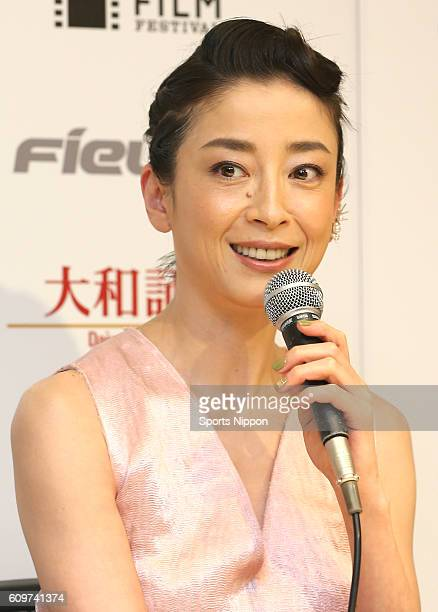 Actress Rie Miyazawa attends stage greeting of film 'Pale Moon' on October 25 2014 in Tokyo Japan