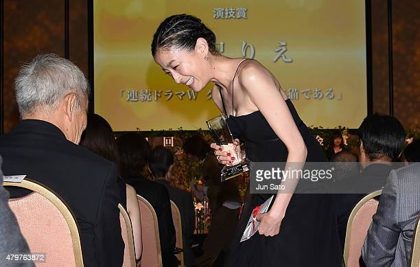 Actress Rie Miyazawa attends the Hoso Bunka Foundation Prize on July 7 2015 in Tokyo Japan