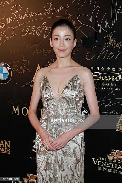 Actress Rie Miyazawa walks the red carpet during the 9th Asian Film Awards on March 25 2015 in Macau China