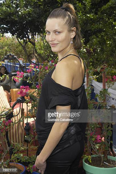 Actress Rie Rasmussen poses at a press conference for the Miami International Film Festival on March 7 2007 in Miami Beach Florida