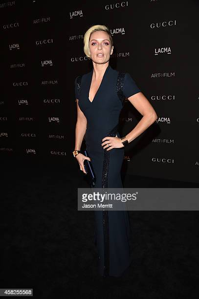 Actress Rie Rasmussen wearing Gucci attends the 2014 LACMA Art Film Gala honoring Barbara Kruger and Quentin Tarantino presented by Gucci at LACMA on...