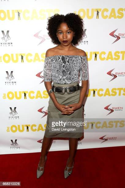 Actress Riele Downs attends the premiere of Swen Group's The Outcasts at Landmark Regent on April 13 2017 in Los Angeles California