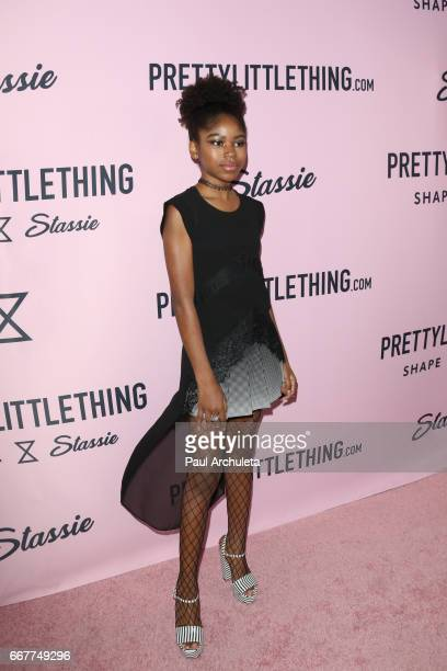 Actress Riele Downs attends the PrettyLittleThing campaign launch on April 11 2017 in Los Angeles California