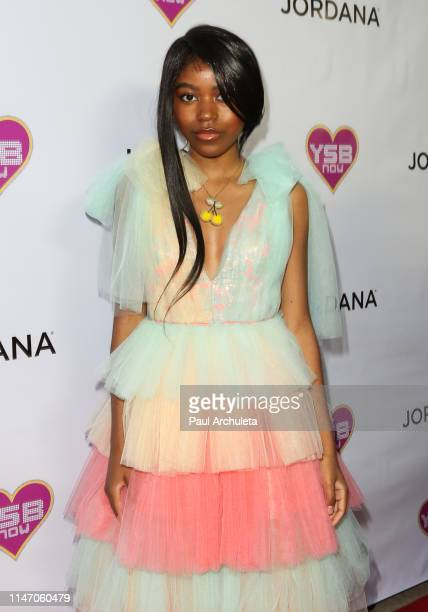 "Actress Riele Downs attends the ""Young Hollywood Prom"" hosted by YSBnow and Jordana Cosmetics on May 04, 2019 in Los Angeles, California."