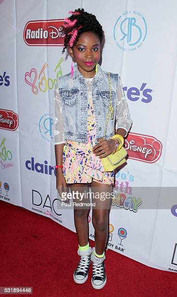 Actress Riele Downs on the red carpet at JoJo Siwa from 'Dance Moms' 13th Birthday 80's Dance Party at Madame Tussauds on May 16 2016 in Hollywood...