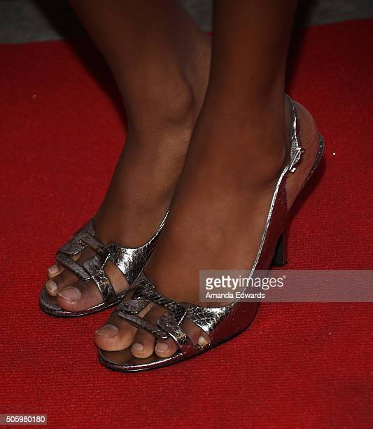 Actress Riele Downs shoe detail arrives at a private screening of Amazon's 'Just Add Magic' at the Chaplin Theater at Raleigh Studios on January 20...