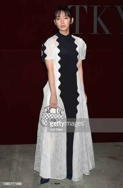 Actress Riho Yoshioka attends the photocall for Valentino TKY 2019 Pre-Fall Collection at Terada Warehouse on November 27, 2018 in Tokyo, Japan.