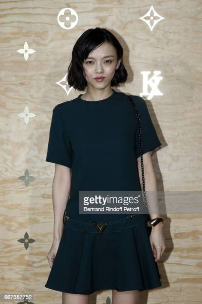 Actress Rila Fukushima attends the LVxKOONS exhibition at Musee du Louvre on April 11 2017 in Paris France