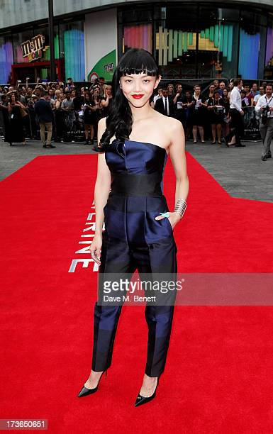 Actress Rila Fukushima attends the UK Premiere of 'The Wolverine' at Empire Leicester Square on July 16 2013 in London England