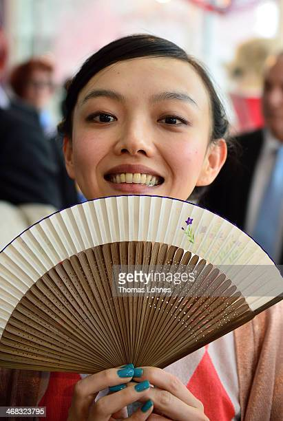 Actress Rila Fukushima visits the Japan exebition at the 'Ambiente 2014' on February 10 2014 in Frankfurt am Main Germany Japan is the partner...