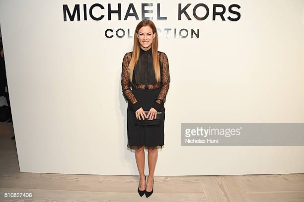 Actress Riley Keough poses backstage at the Michael Kors Fall 2016 Runway Show during New York Fashion Week The Shows at Spring Studios on February...