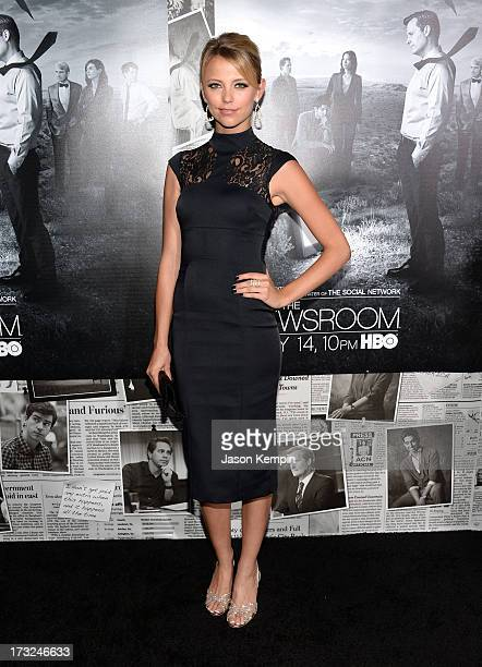 Actress Riley Voelkel attends the premiere of HBO's 'The Newsroom' Season 2 at Paramount Theater on the Paramount Studios lot on July 10 2013 in...