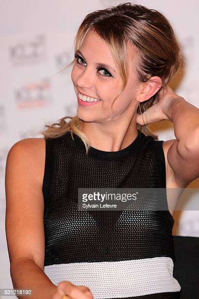 Actress Riley Voelkel attends The Vampire Diaries The Originals Press Conference for the Bloody Night Convention on May 13 2016 in Brussels Belgium
