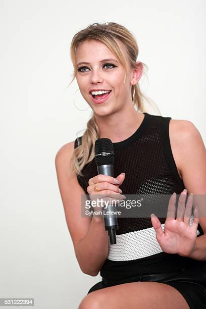 Actress Riley Voelkel is interviewed after The Vampire Diaries The Originals Press Conference for the Bloody Night Convention on May 13 2016 in...