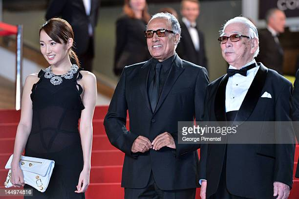 Actress Rin Takanashi director Abbas Kiarostami and actor Tadashi Okuno attend the 'Like Someone In Love' Premiere during the 65th Annual Cannes Film...