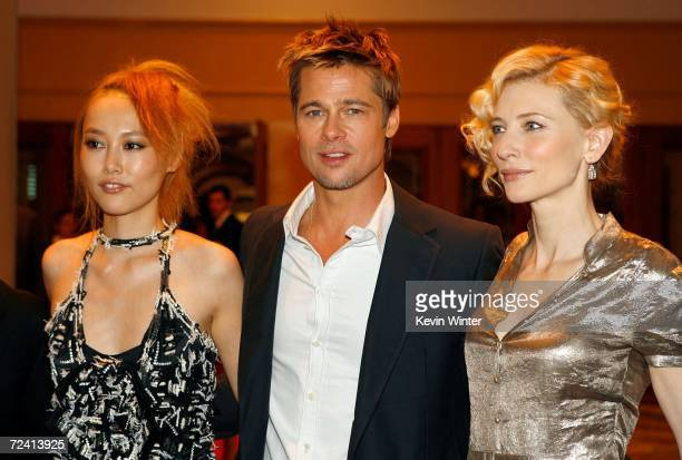 Actress Rinko Kikuchi actor Brad Pitt and actress Cate Blanchett arrive at the Paramount Vantage premiere of 'Babel' held at the FOX Westwood Village...