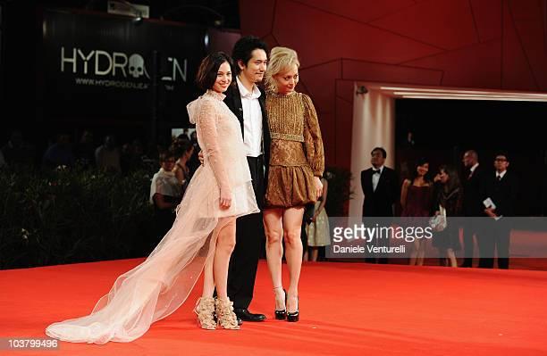 Actress Rinko Kikuchi actor Kenichi Matsuyama and actress Kiko Mizuhara attend the Norwegian Wood premiere at the Palazzo del Cinema during the 67th...