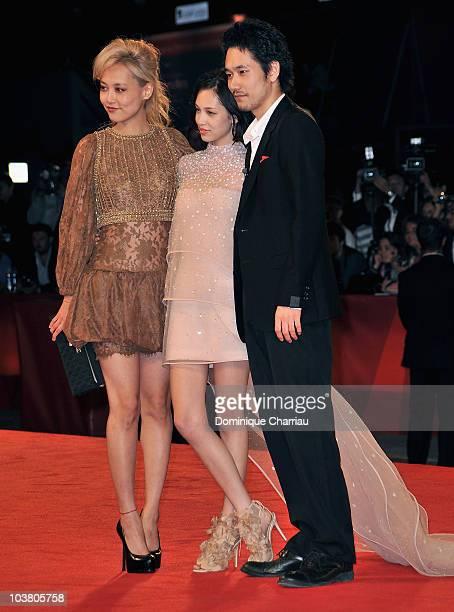 Actress Rinko Kikuchi actress Kiko Mizuhara and actor Kenichi Matsuyama attend the Norwegian Wood premiere at the Palazzo del Cinema during the 67th...