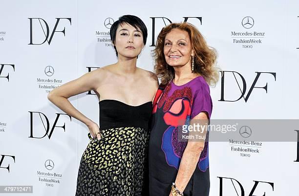 Actress Rinko Kikuchi and designer Diane Von Furstenberg attend the DIANE von FURSTENBERG show as part of Mercedes Benz Fashion Week TOKYO 2014 A/W...