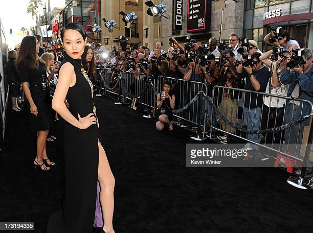 Actress Rinko Kikuchi arrives at the premiere of Warner Bros Pictures' and Legendary Pictures' Pacific Rim at Dolby Theatre on July 9 2013 in...