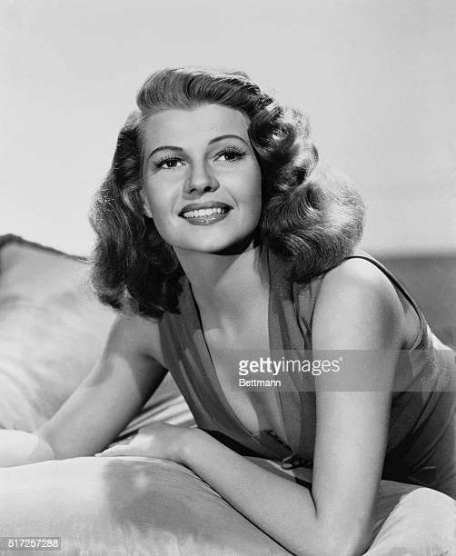 Actress Rita Hayworth, glamour star of the 1940s and 1950s, in a sultry publicity photo.