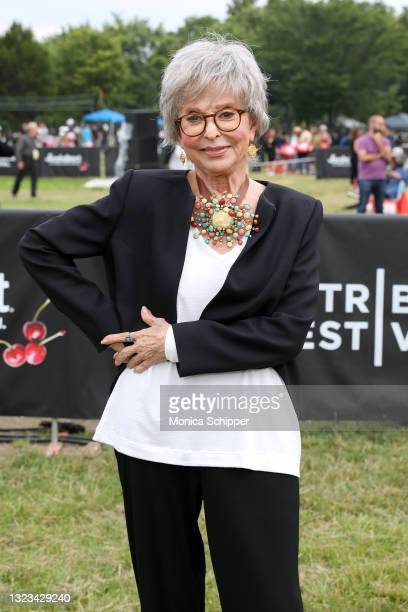 Actress Rita Moreno poses at Tribeca Festival 2021's Borough To Borough Screenings hosted by FreshDirect at Soundview Park in the Bronx on June 13,...