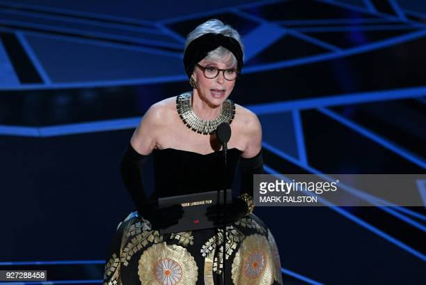 Actress Rita Moreno presents the Oscar for Best Foreign Language Film during the 90th Annual Academy Awards show on March 4 2018 in Hollywood...