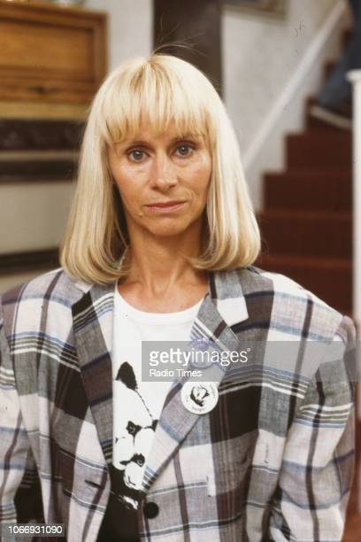 Actress Rita Tushingham pictured on set during filming for the BBC television sitcom 'Bread' August 21st 1988