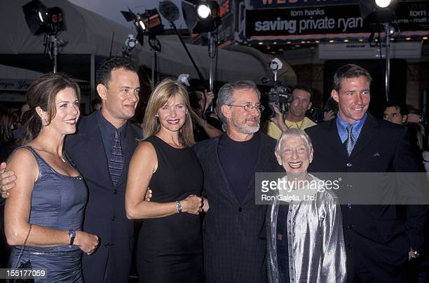 "Actress Rita Wilson, actor Tom Hanks, actress Kate Capshaw, director Steven Spielberg and mother Leah Adler and actor Ed Burns attend the ""Saving..."