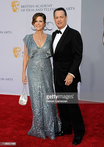 Actress Rita Wilson and actor Tom Hanks arrive at the BAFTA Brits To Watch event held at the Belasco Theatre on July 9 2011 in Los Angeles California