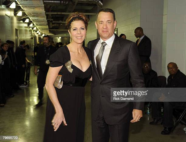 LOS ANGELES CA FEBRUARY 10 Actress Rita Wilson and Actor Tom Hanks at the 50th Annual GRAMMY Awards at the Staples Center on February 10 2008 in Los...