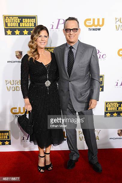 Actress Rita Wilson and actor Tom Hanks attend the 19th Annual Critics' Choice Movie Awards at Barker Hangar on January 16 2014 in Santa Monica...