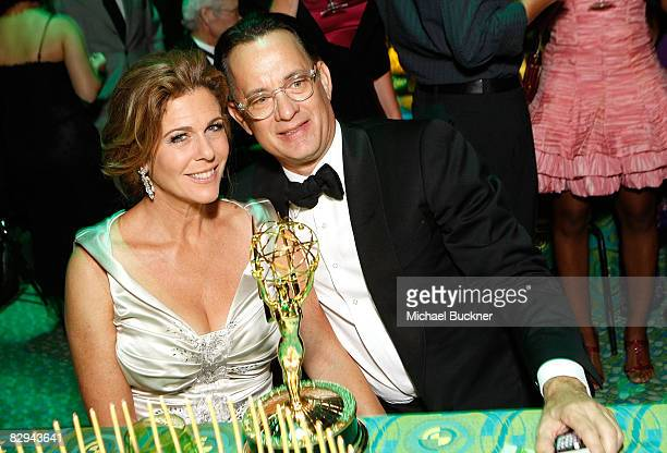 Actress Rita Wilson and actor Tom Hanks attend the HBO EMMY Party at the Plaza at the Pacific Design Center on September 21, 2008 in West Hollywood,...