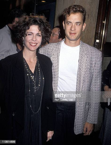 """Actress Rita Wilson and actor Tom Hanks attend the """"Joe Versus the Volcano"""" Westwood Premiere on March 7, 1990 at Mann Regent Theatre in Westwood,..."""