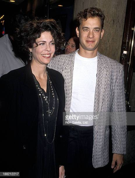 Actress Rita Wilson and actor Tom Hanks attend the Joe Versus the Volcano Westwood Premiere on March 7 1990 at Mann Regent Theatre in Westwood...