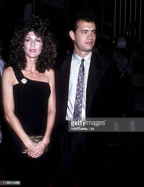 Actress Rita Wilson and actor Tom Hanks attend the Nothing in Common Century City Premiere on July 21 1986 at Plitt's Century Plaza Theatres in...